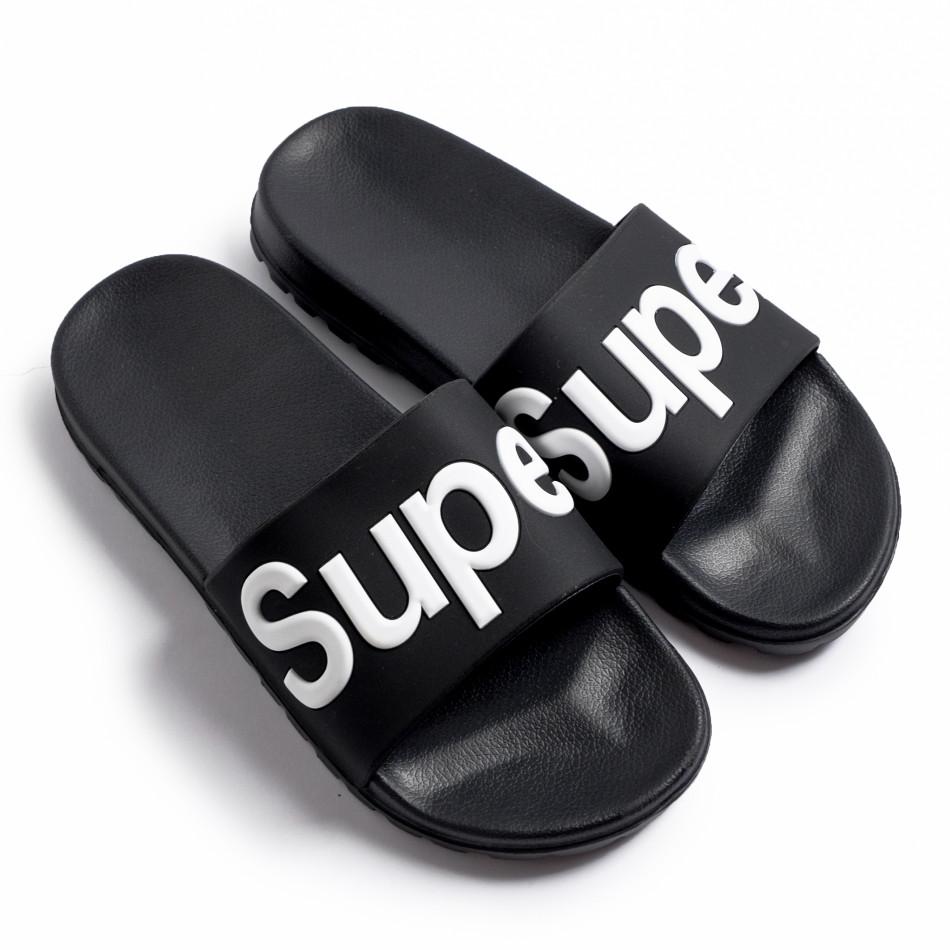 Ανδρικές μαύρες σαγιονάρες Super it260620-3