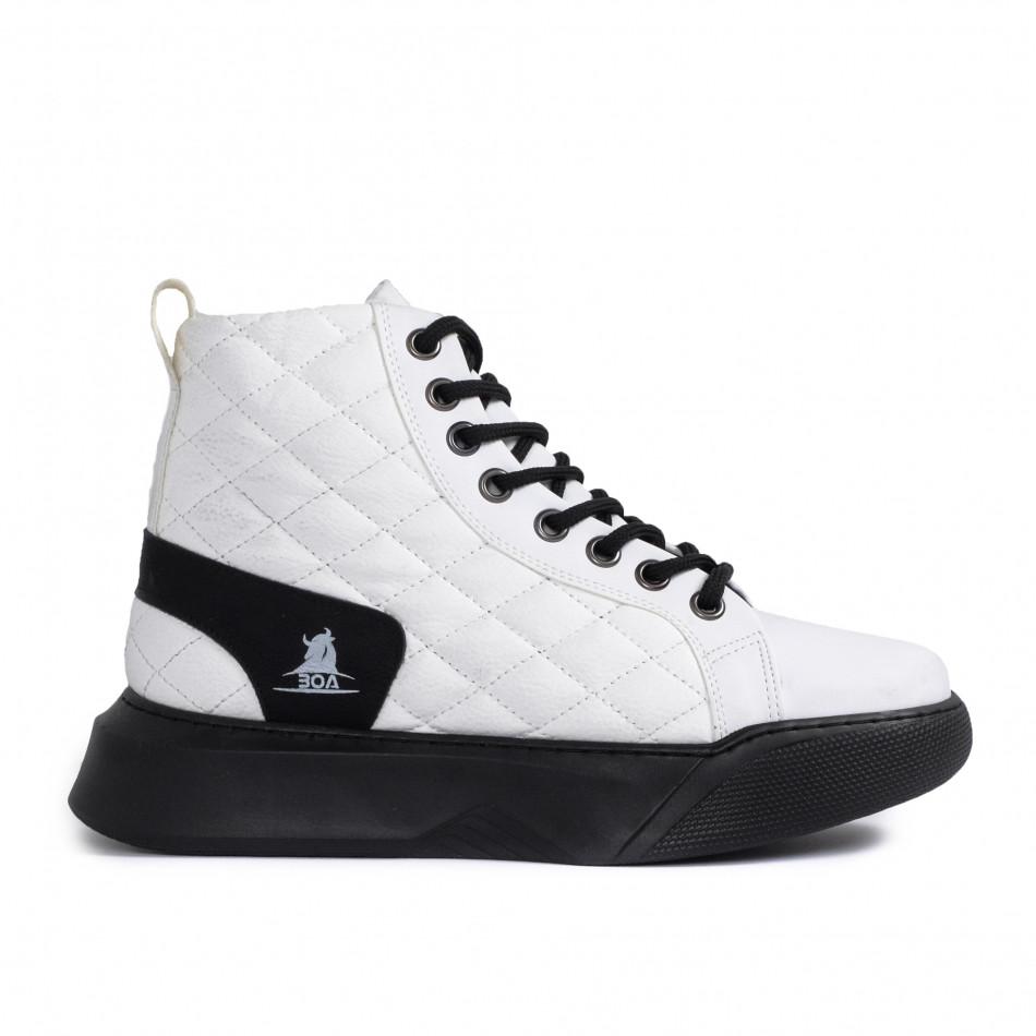 Ανδρικά λευκά ψηλά sneakers με καπιτονέ tr050121-2