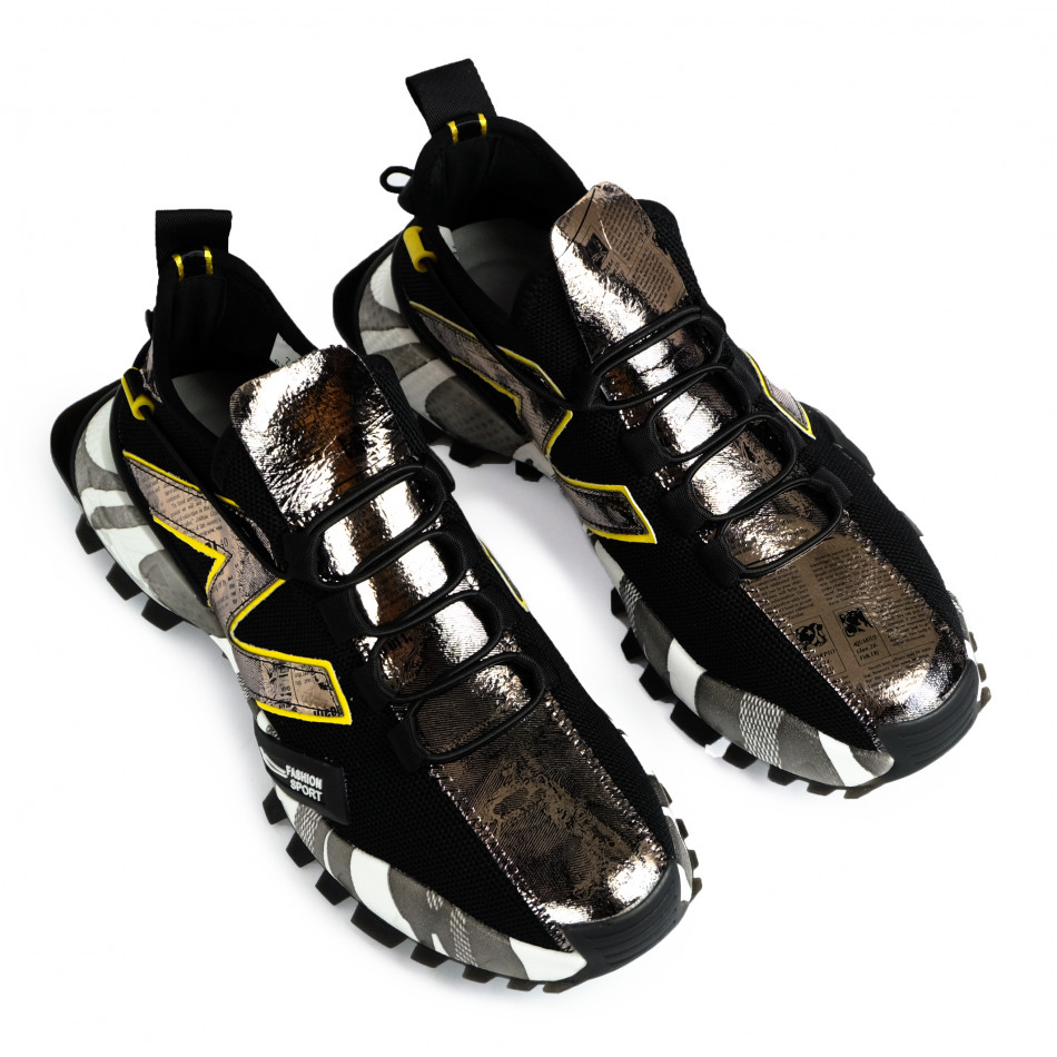Slip-on ανδρικά μαύρα sneakers gr270421-32