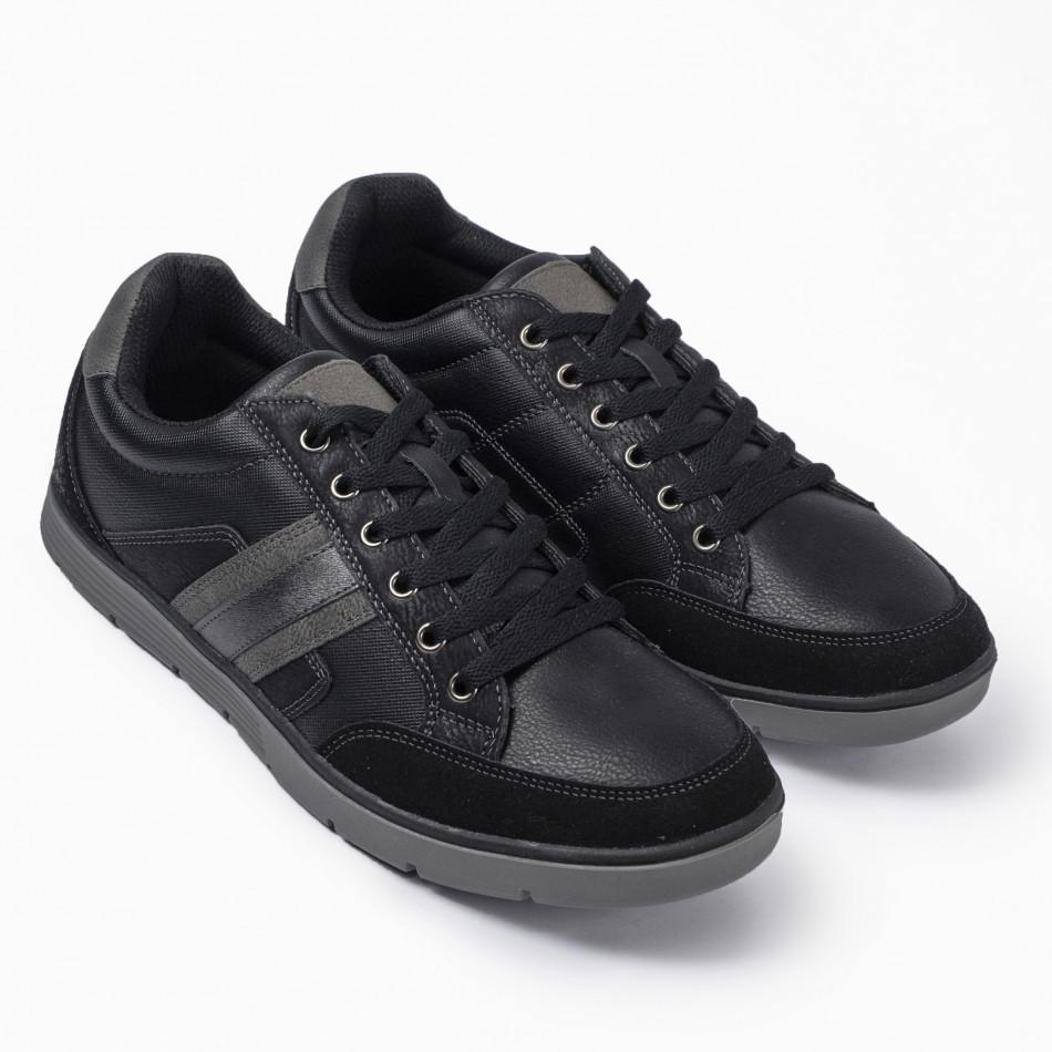 Ανδρικά μαύρα sneakers με γκρι λεπτομέρειες it300920-54
