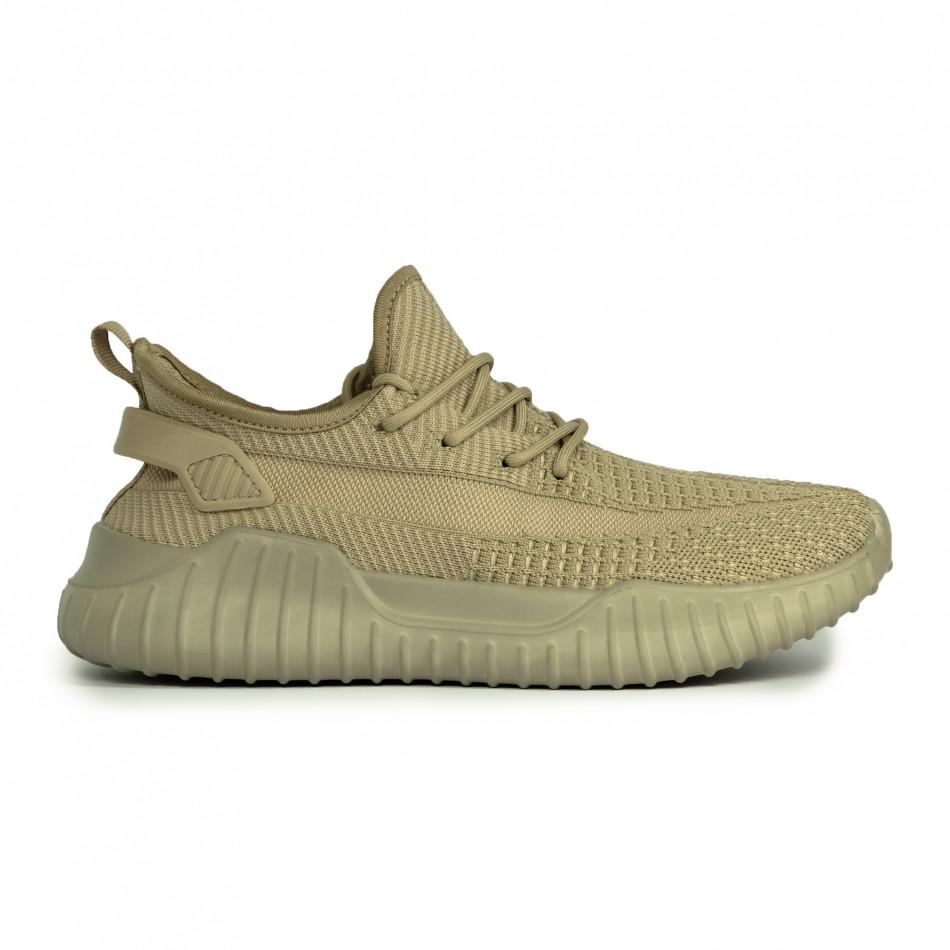 Ανδρικά ελαστικά μπεζ αθλητικά παπούτσια it180820-7