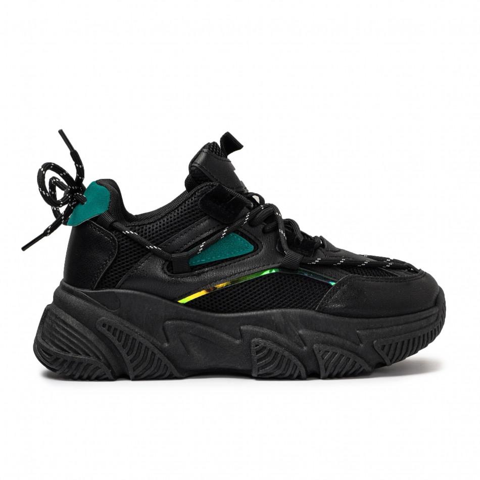 Γυναικεία μαύρα Chunky sneakers με δίχτυ it110221-9