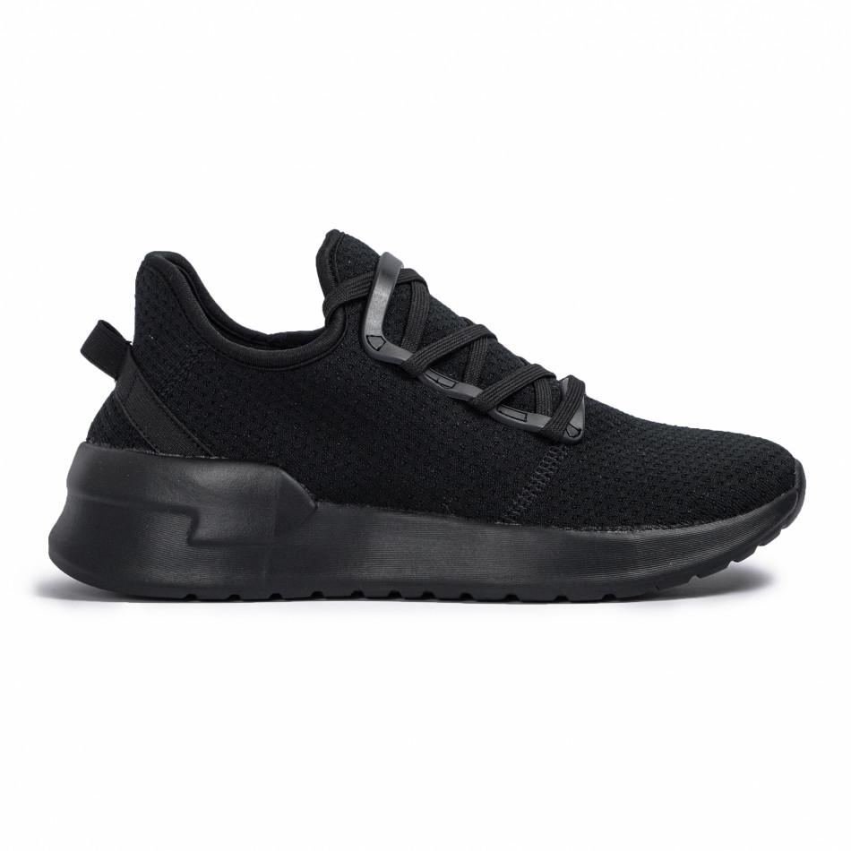 Ανδρικά μαύρα sneakers κάλτσα Lace detail it260620-9