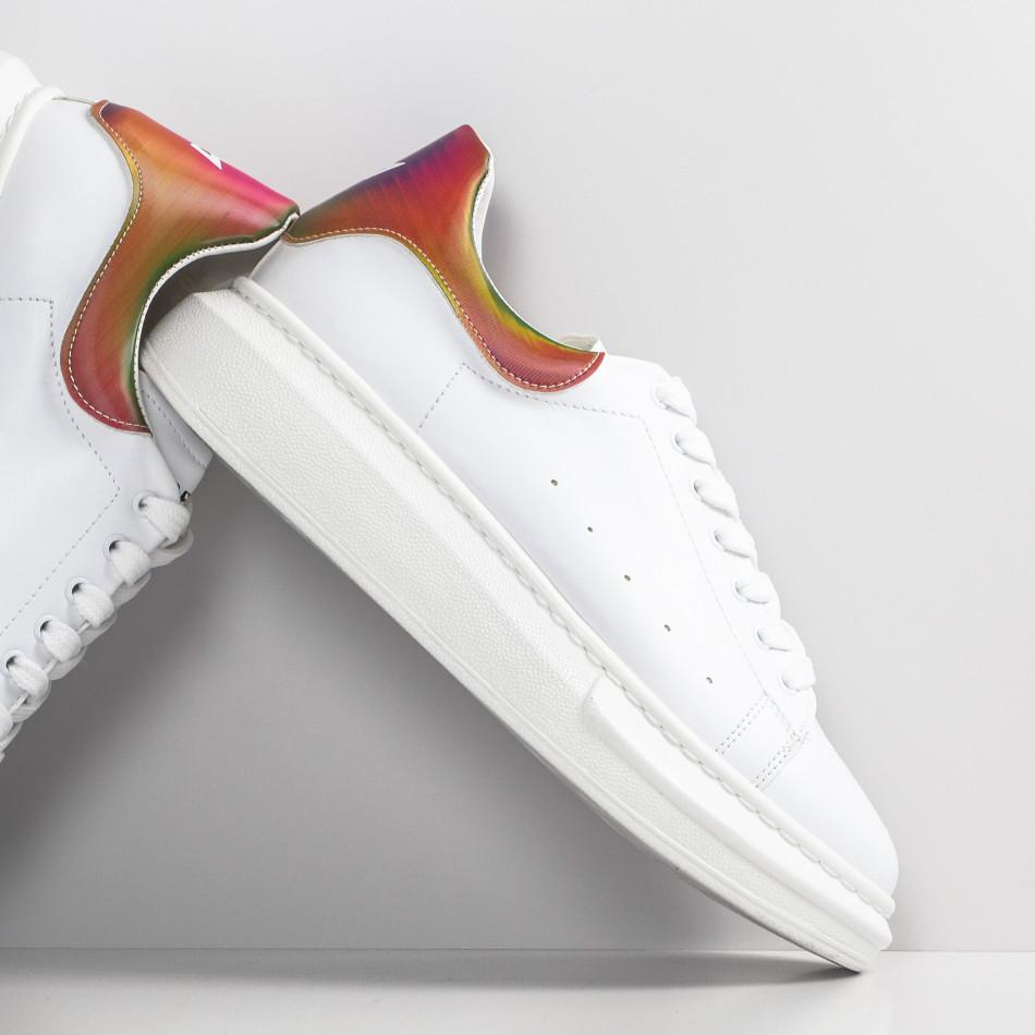 Ανδρικά λευκά sneakers με χοντρή σόλα tr300420-1