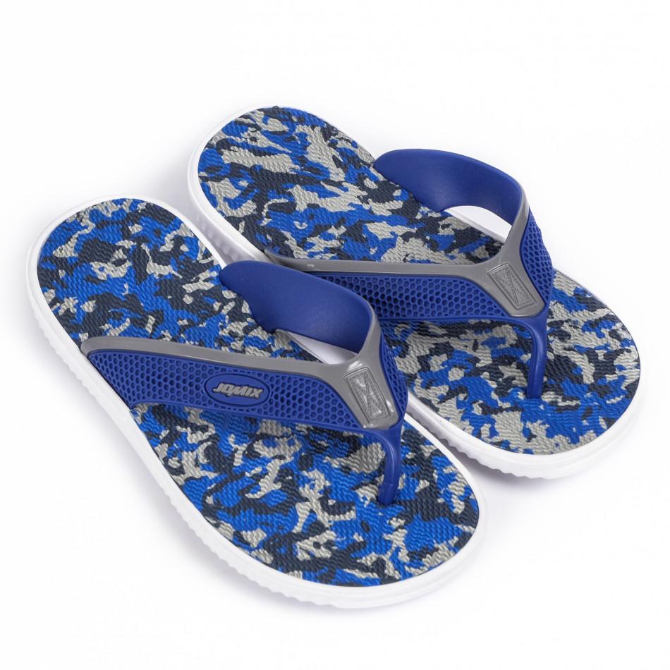 Ανδρικές μπλε καμουφλαζ σαγιονάρες it120620-1