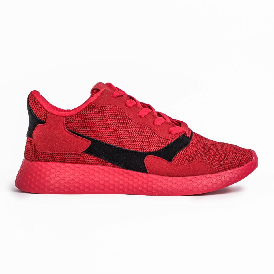 Ανδρικά κόκκινα μελάνζ αθλητικά παπούτσια it180820-2