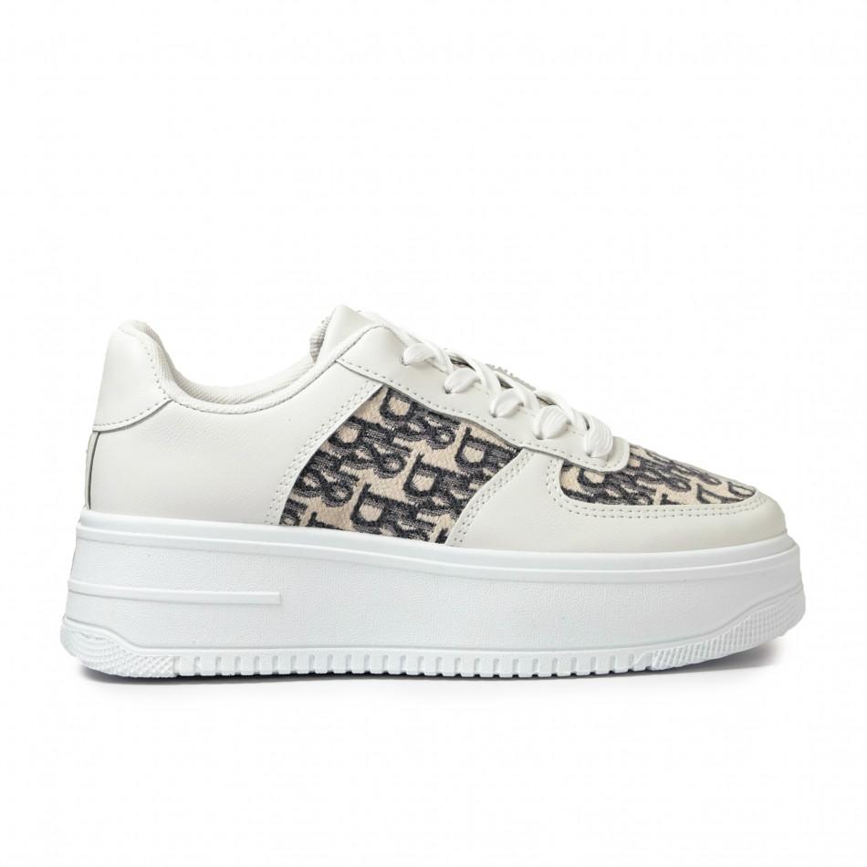 Γυναικεία λευκά sneakers με πλατφορμα it110221-4