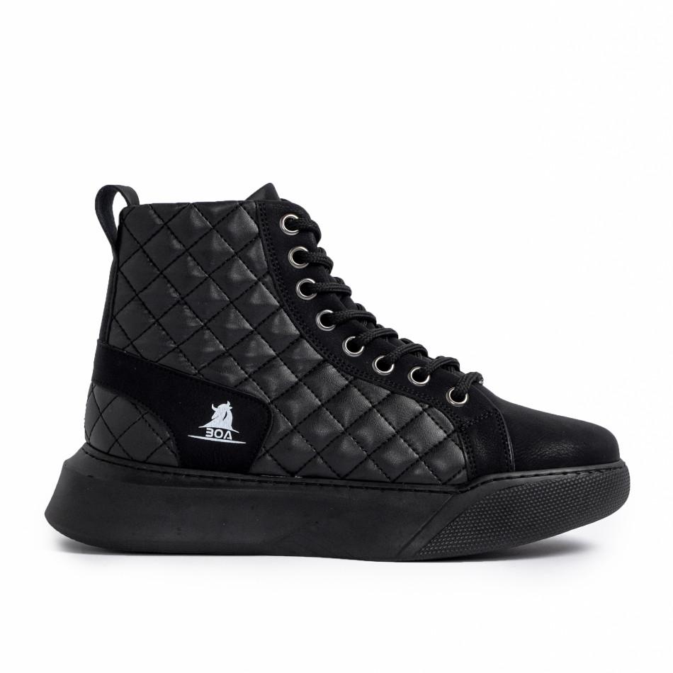 Ανδρικά μαύρα ψηλά sneakers με καπιτονέ tr221220-1