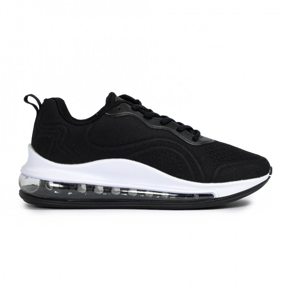 Ανδρικά μαύρα αθλητικά παπούτσια με σόλες αέρα it300920-52