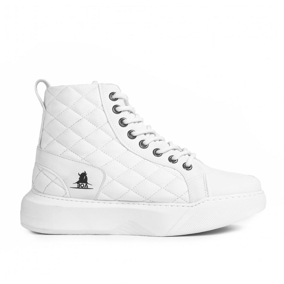 Ανδρικά All white ψηλά sneakers με καπιτονέ tr050121-3
