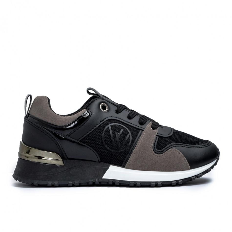 Γυναικεία  sneakers σε μαύρο και γκρι it110221-1