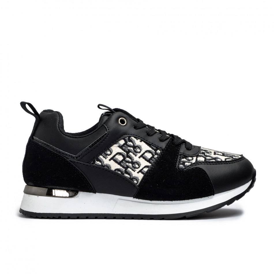 Γυναικεία μαύρα sneakers σε συνδυασμό υλικών it110221-12
