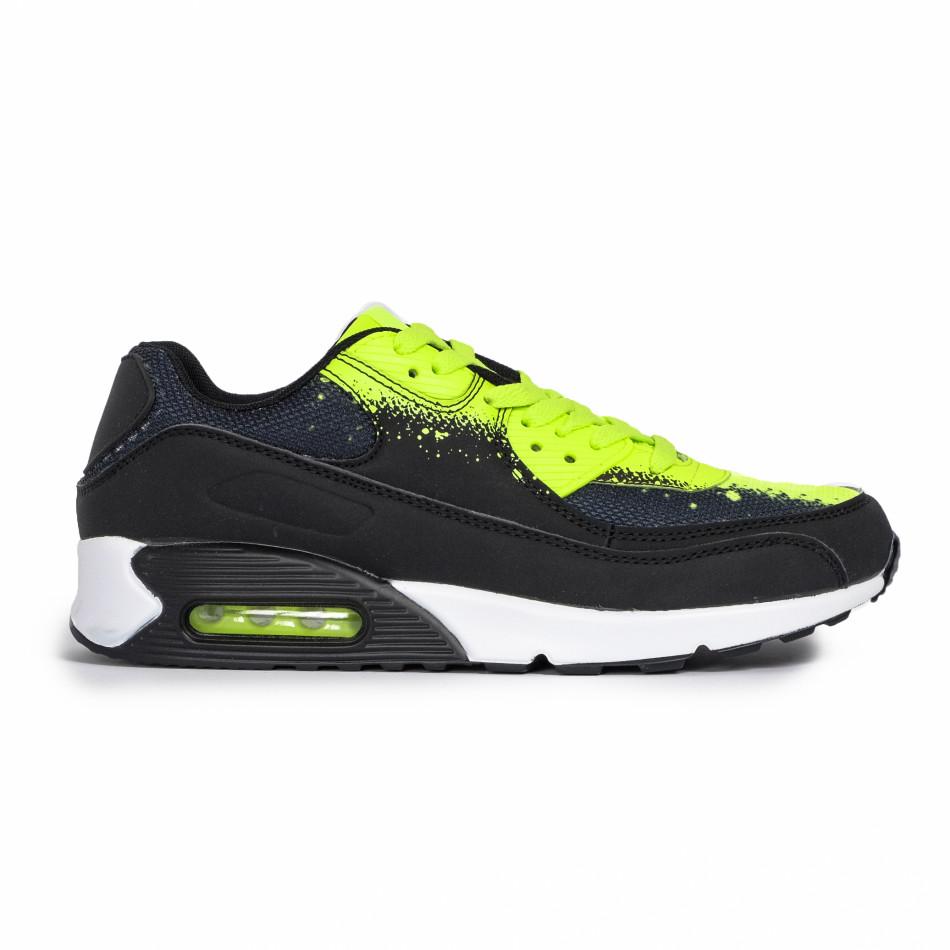 Ανδρικά μαύρα αθλητικά παπούτσια Splash neon it140720-11