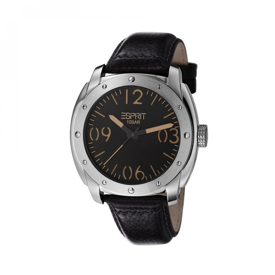 Ανδρικό ρολόι Esprit Black Dial Black Leather  ES106381001