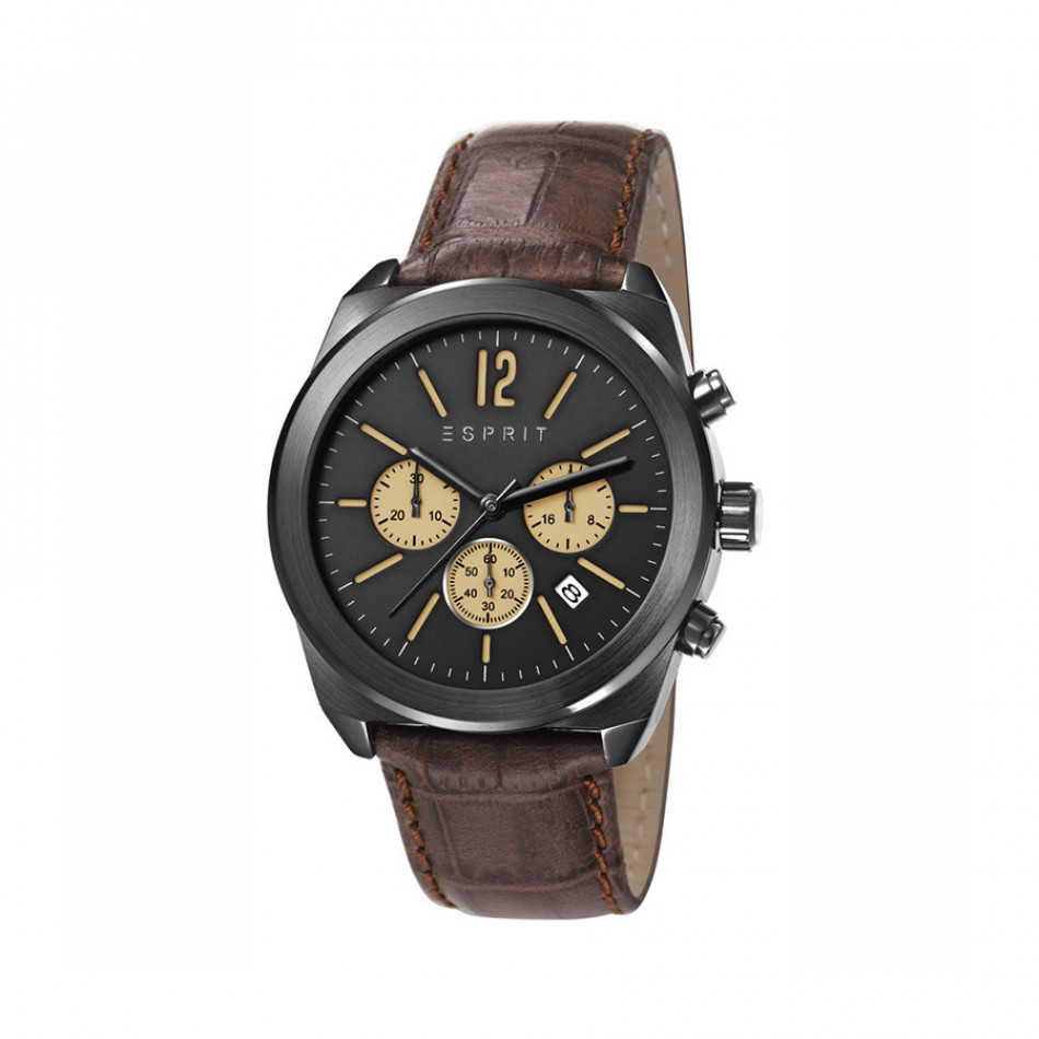 Ανδρικό ρολόι Esprit Black Dial Brown Leather  ES107571003