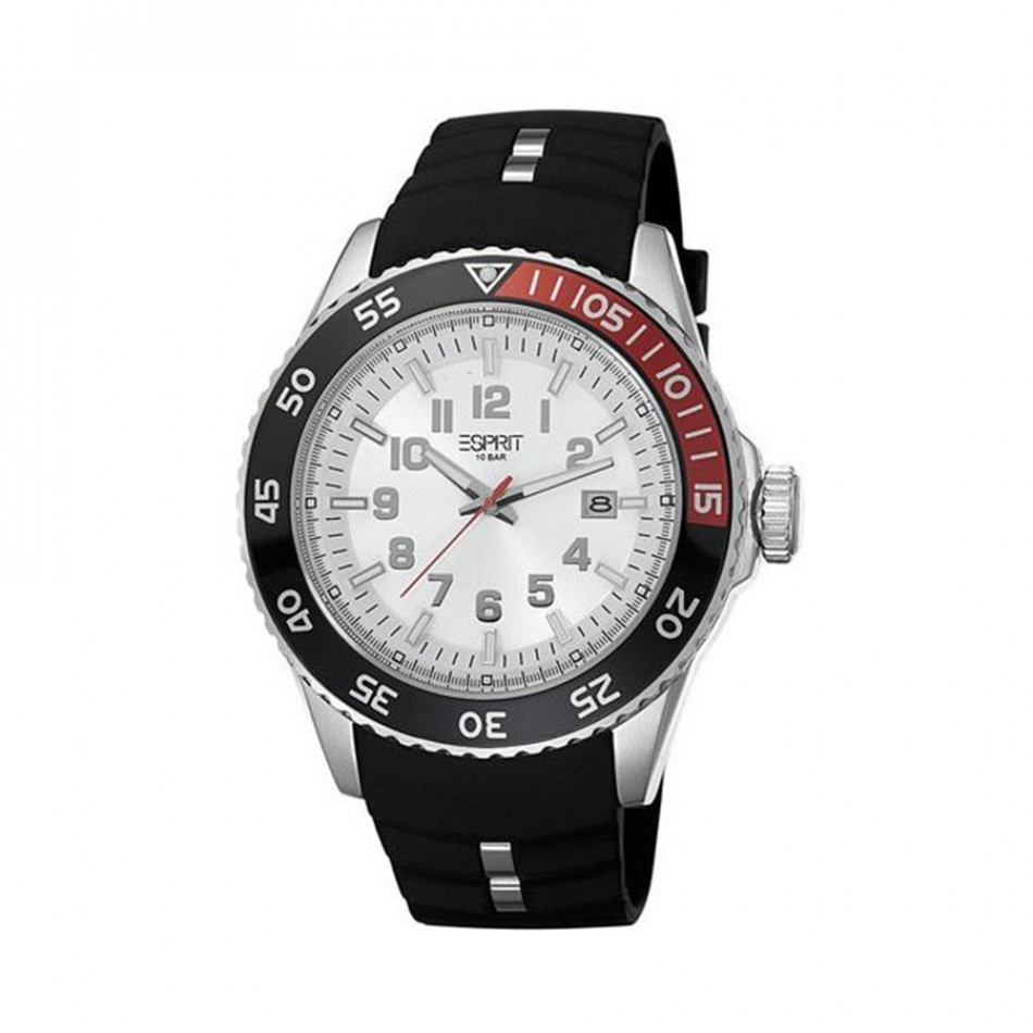 Ανδρικό ρολόι Esprit ES White Dial Black Rubber Quartz Watch ES103631002