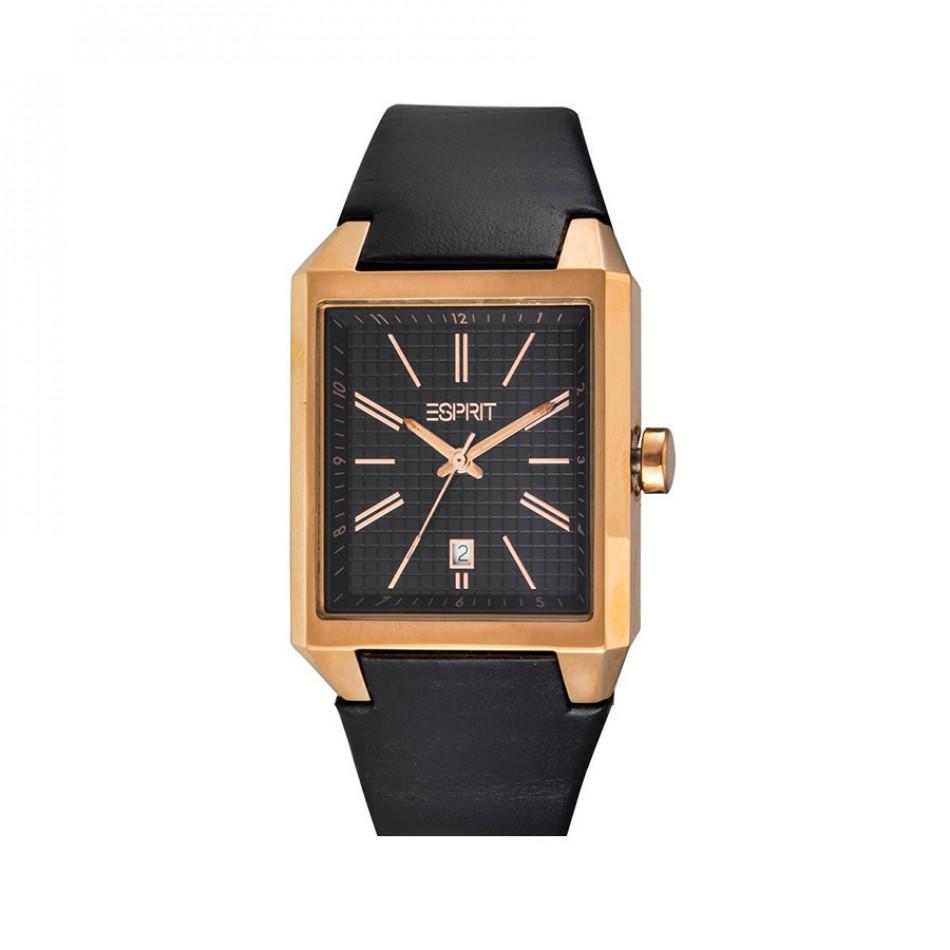 Ανδρικό ρολόι Esprit PVD Gold Quartz Black Leather ES104071003 ES104071003