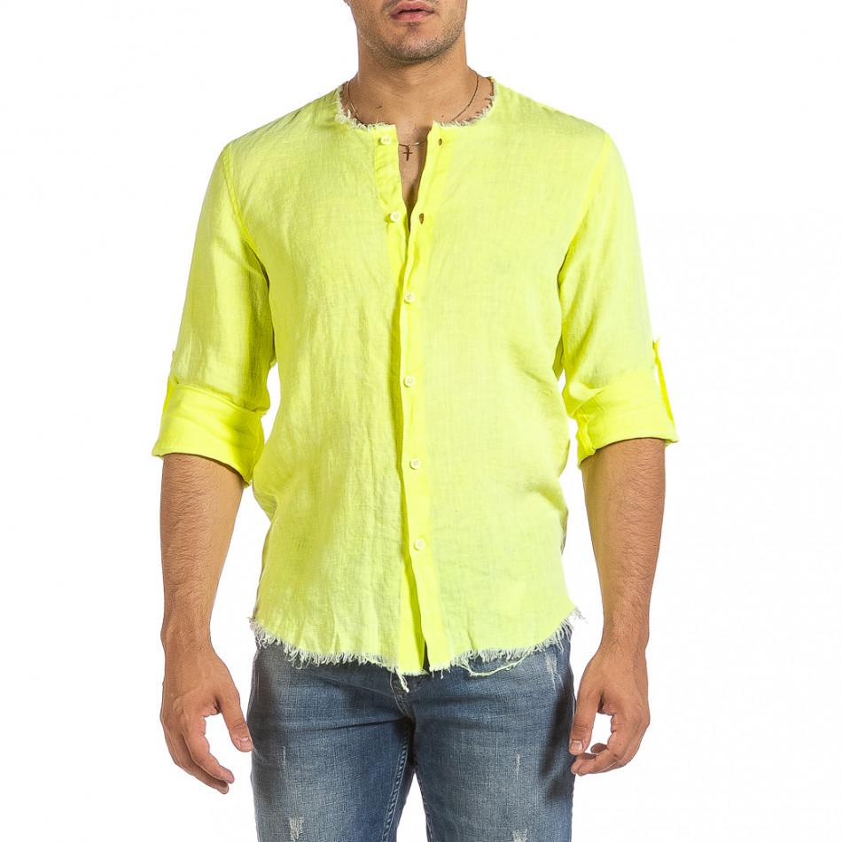 Ανδρικό κίτρινο λινό πουκάμισο Duca Fashion it240621-33