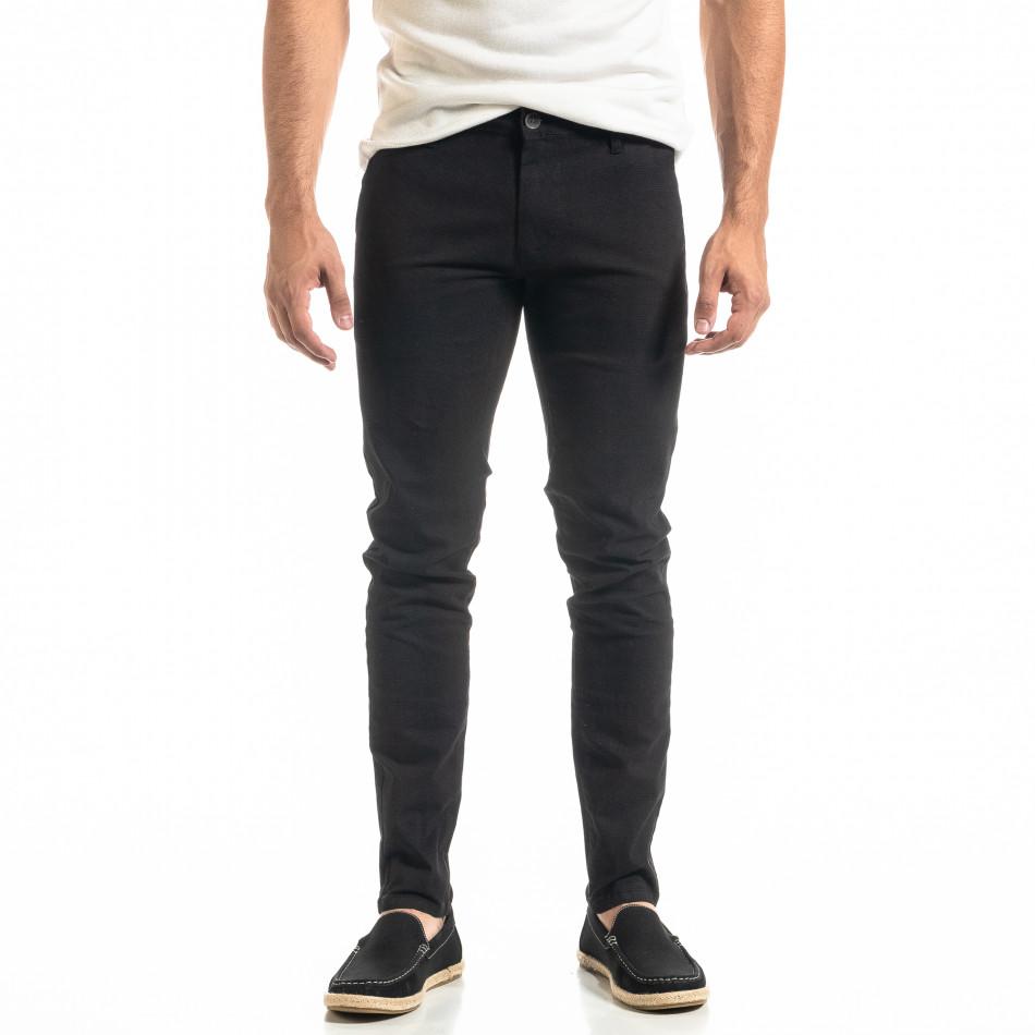 Ανδρικό μαύρο παντελόνι Slim fit Chino it020920-20
