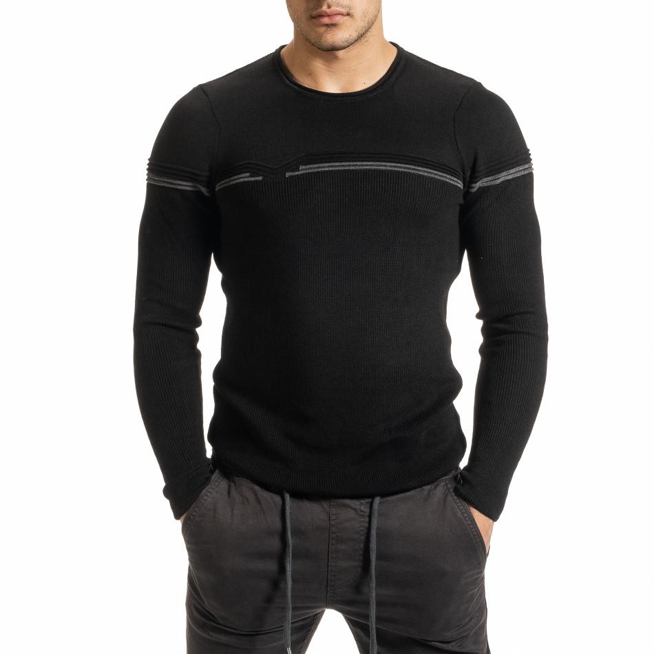 Ανδρικό μαύρο πουλόβερ it301020-14