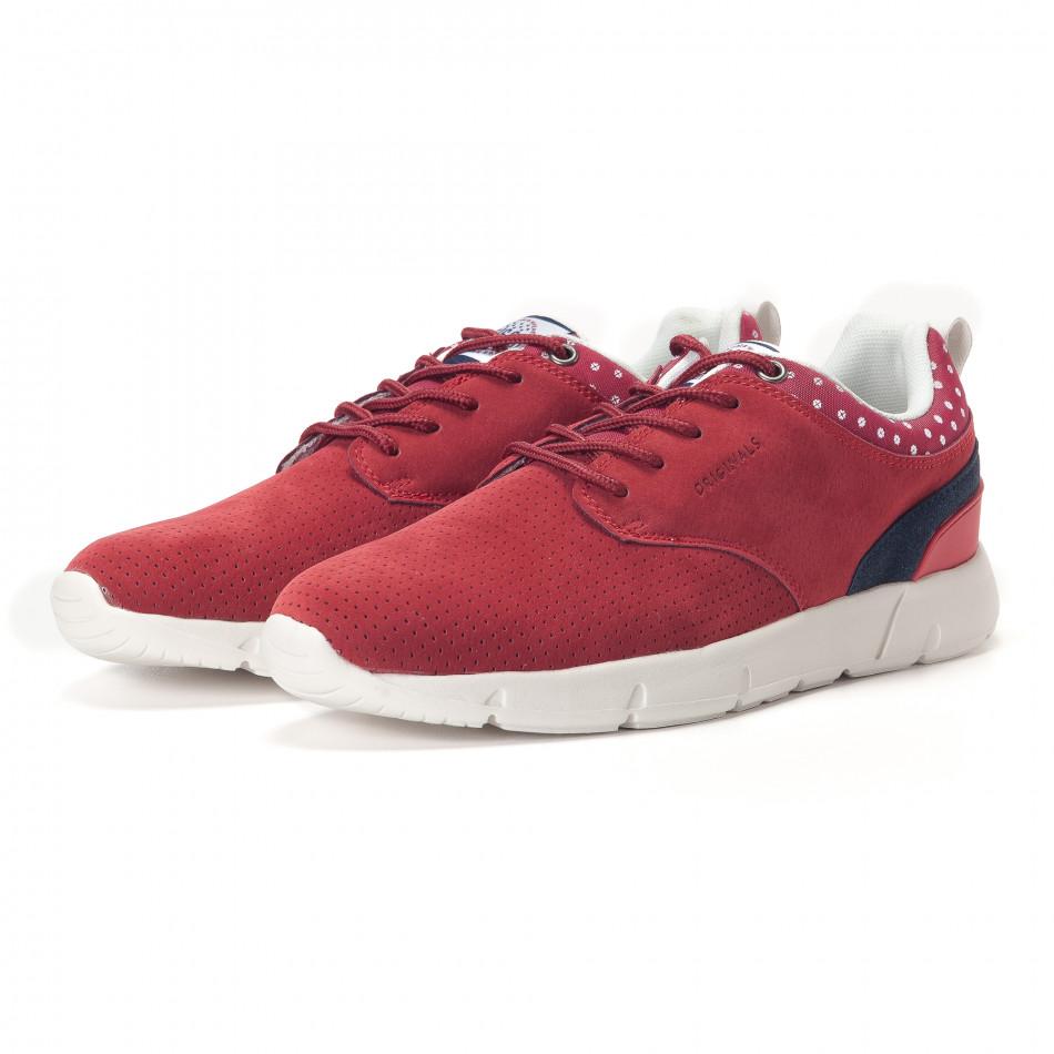 Ανδρικά κόκκινα αθλητικά παπούτσια Montefiori it250118-21