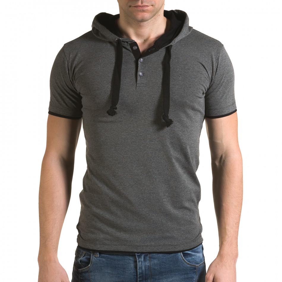 Ανδρική γκρι κοντομάνικη μπλούζα Lagos il120216-58