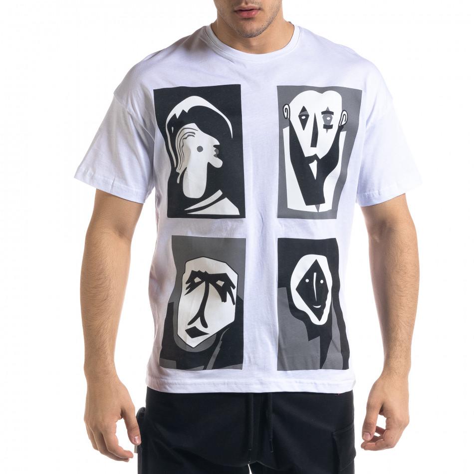 Ανδρική λευκή κοντομάνικη μπλούζα SAW tr110320-12