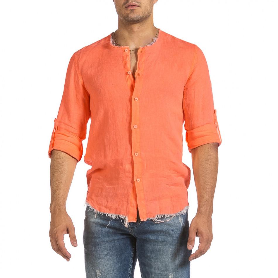 Ανδρικό πορτοκαλί λινό πουκάμισο Duca Fashion it240621-34