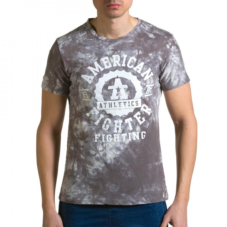 Ανδρική γκρι κοντομάνικη μπλούζα P2P ca190116-45