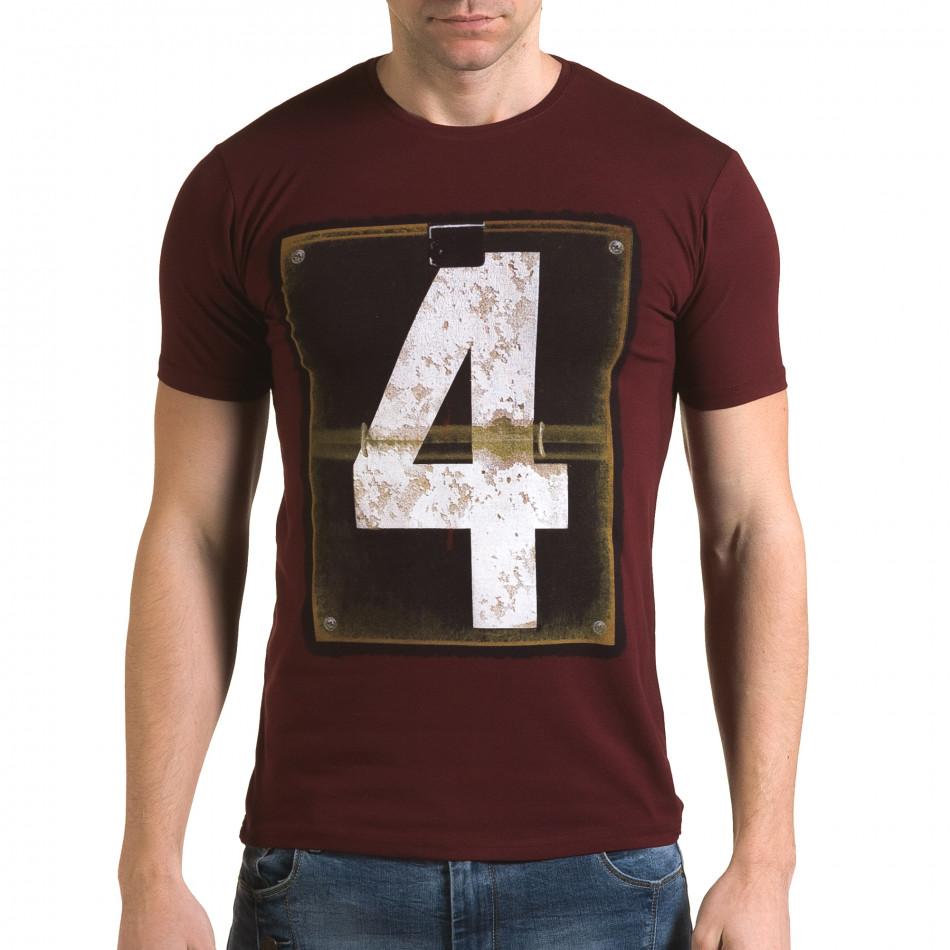 Ανδρική κόκκινη κοντομάνικη μπλούζα Lagos il120216-45