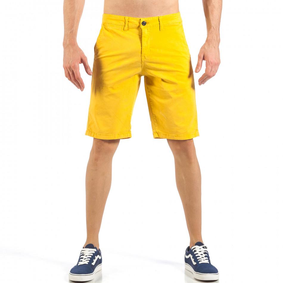 Ανδρική κίτρινη βερμούδα με ιταλικές τσέπες it260318-139