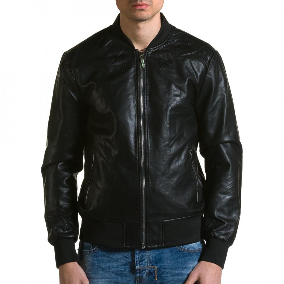 Ανδρικό μαύρο μπουφαν δερματινη X-Feel ca190116-33