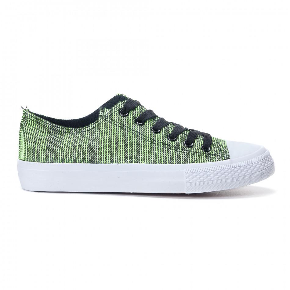 Γυναικεία υφασμάτινα sneakers με πράσινες και μαύρες ρίγες it240118-12