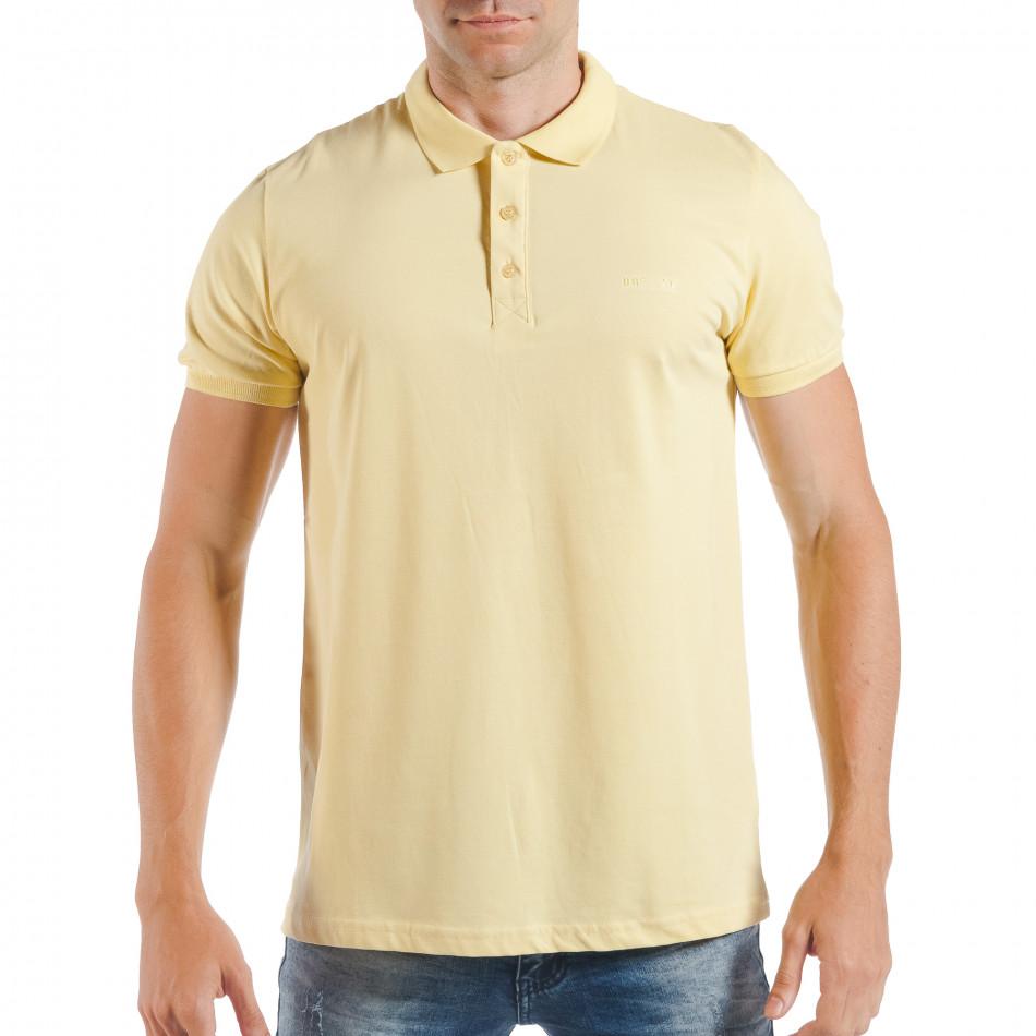Ανδρική κίτρινη πόλο basic μοντέλο tsf250518-34
