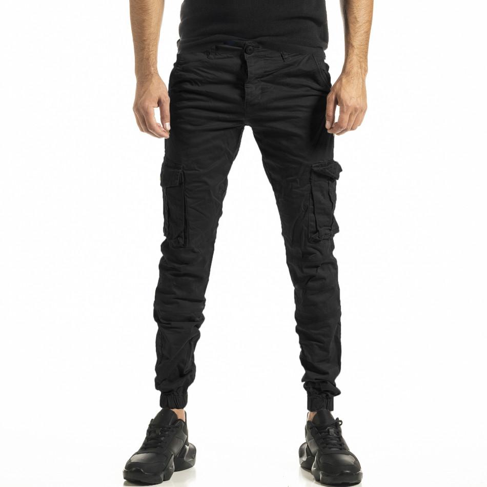 Ανδρικό μαύρο παντελόνι Cargo Jogger tr161220-22