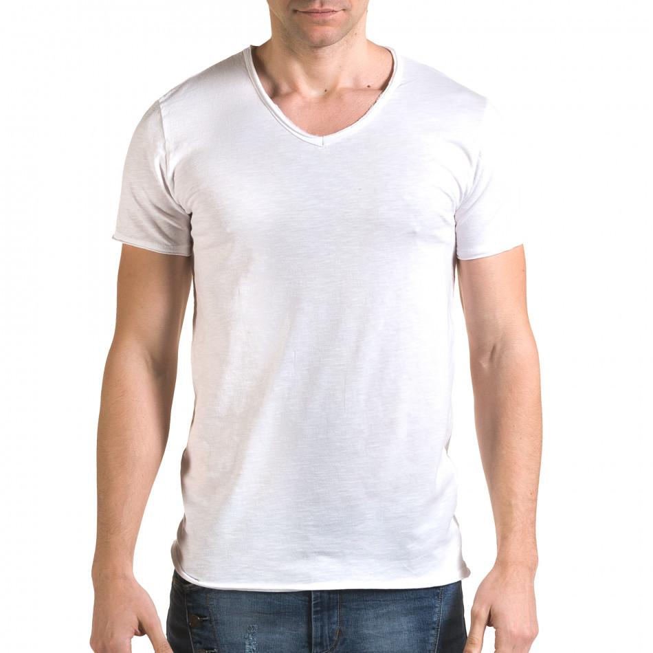 Ανδρική λευκή κοντομάνικη μπλούζα FM it090216-79