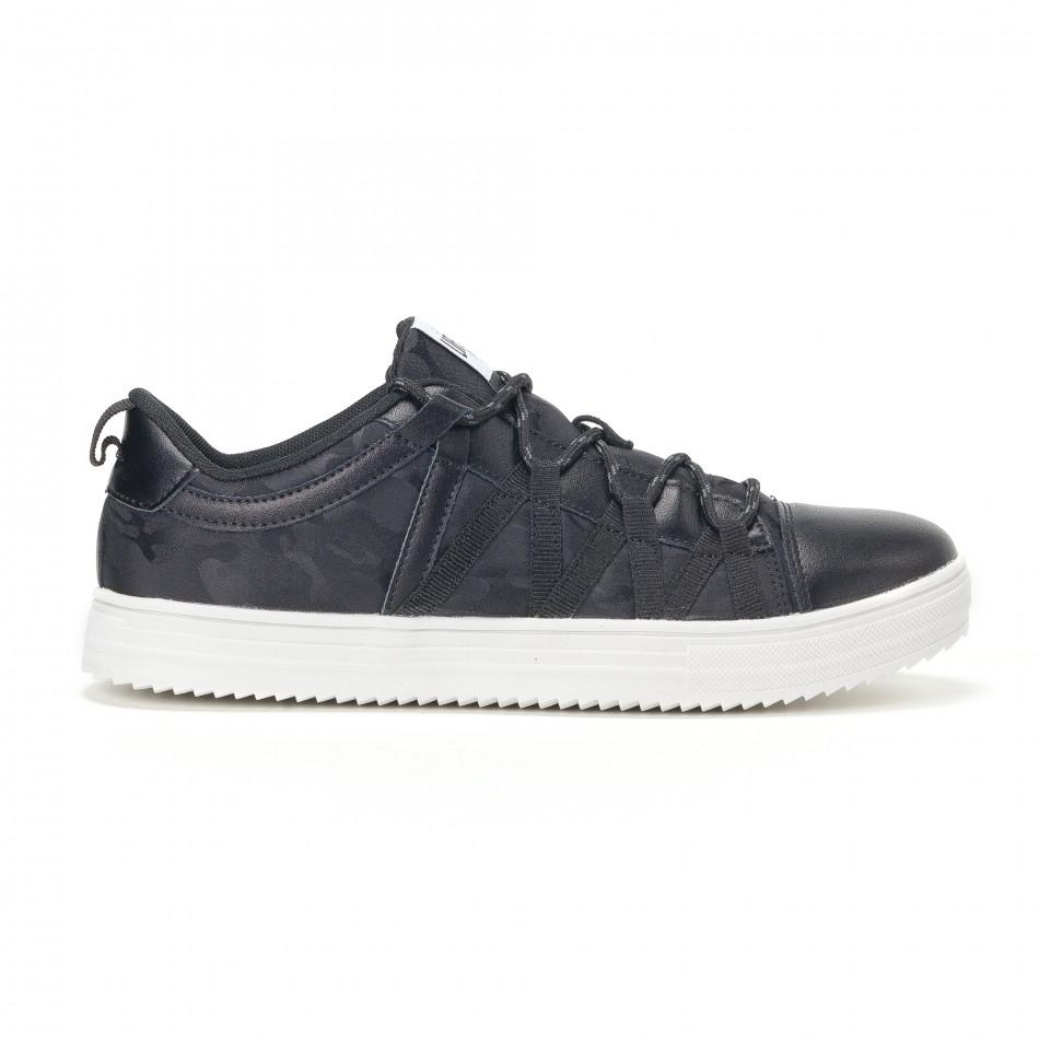 Ανδρικά μαύρα sneakers παραλλαγής με κορδόνια it160318-7