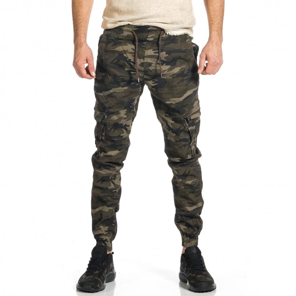 Ανδρικό μπεζ-πράσινο καμουφλαζ παντελόνι cargo tr270421-7