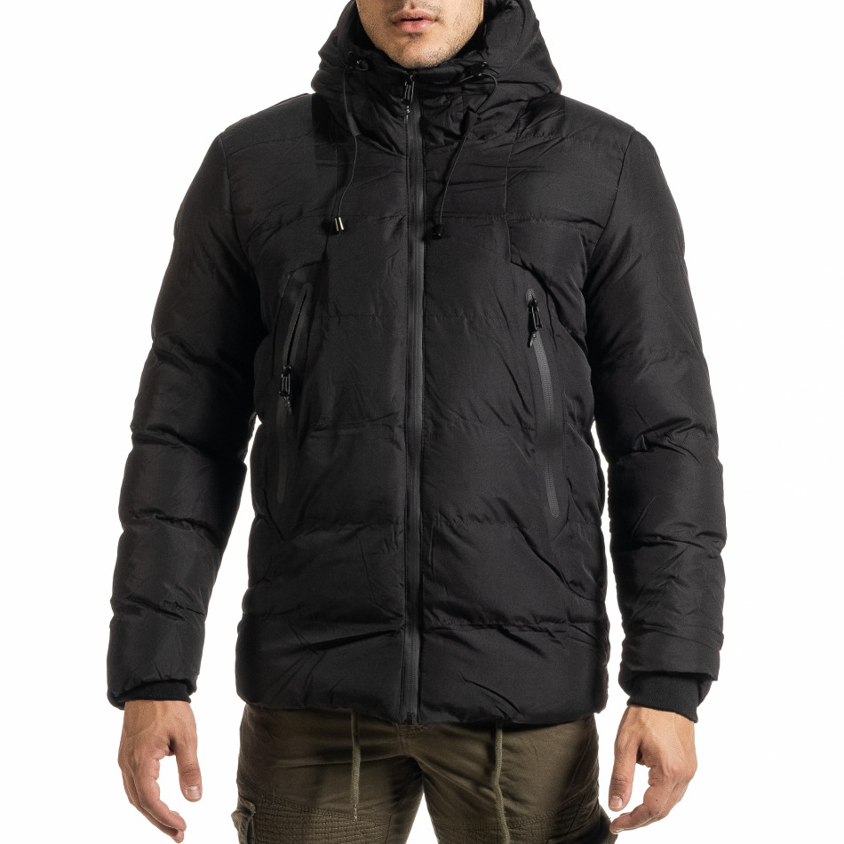 Ανδρικό μαύρο χειμωνιάτικο μπουφάν Bread & Buttons it301020-10