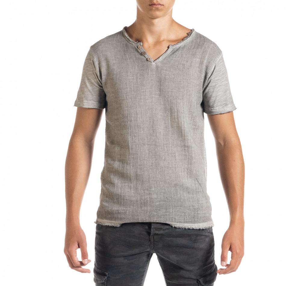 Ανδρική γκρι κοντομάνικη μπλούζα Duca Homme it010720-27