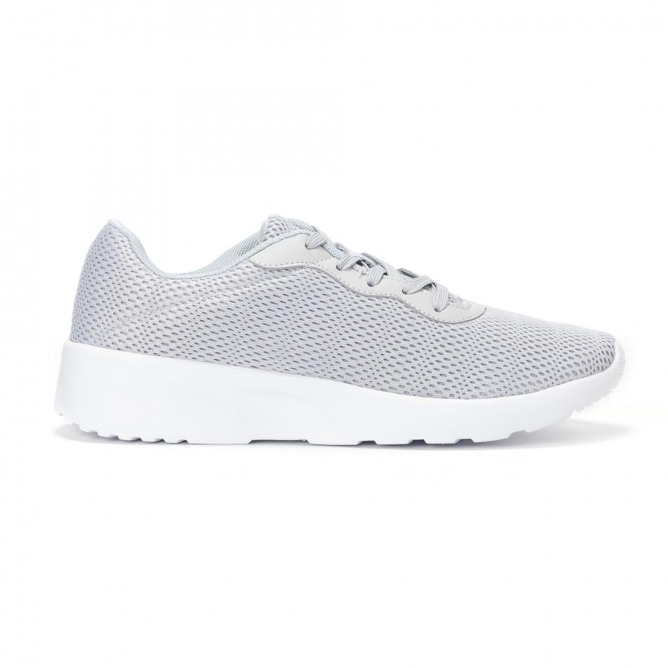 Ανδρικά γκρι διχτυωτά αθλητικά παπούτσια  it160318-34