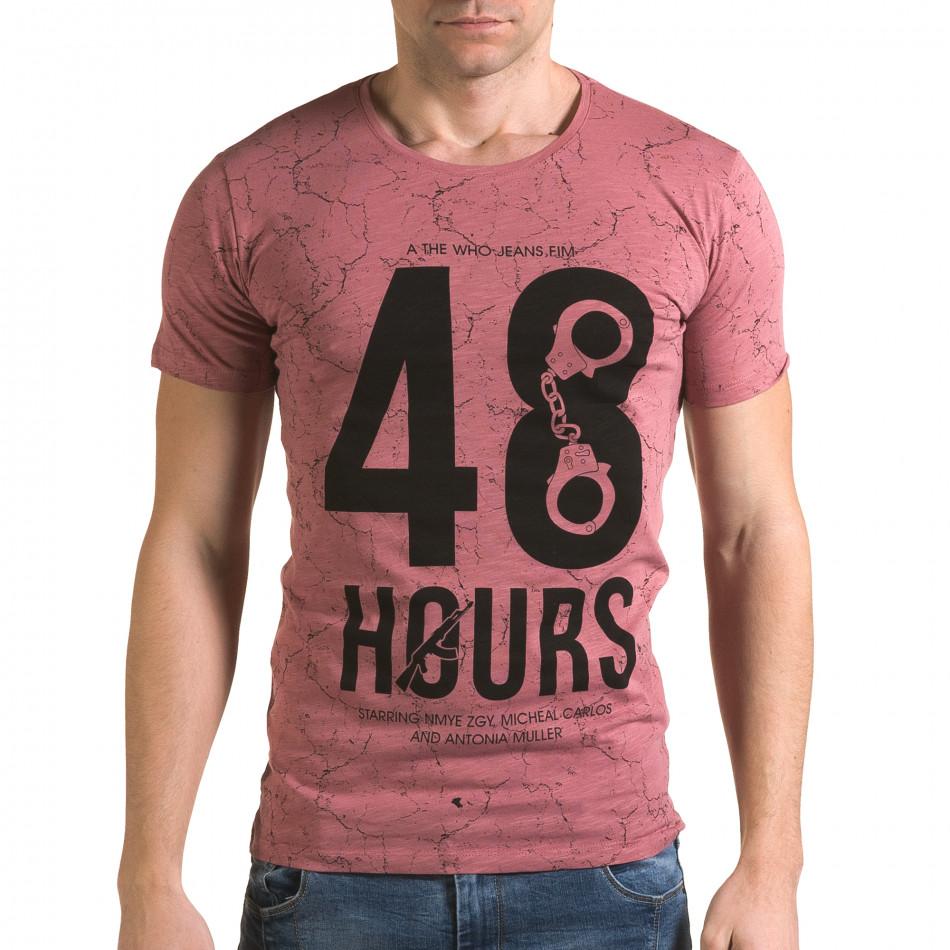 Ανδρική ροζ κοντομάνικη μπλούζα Lagos il120216-6