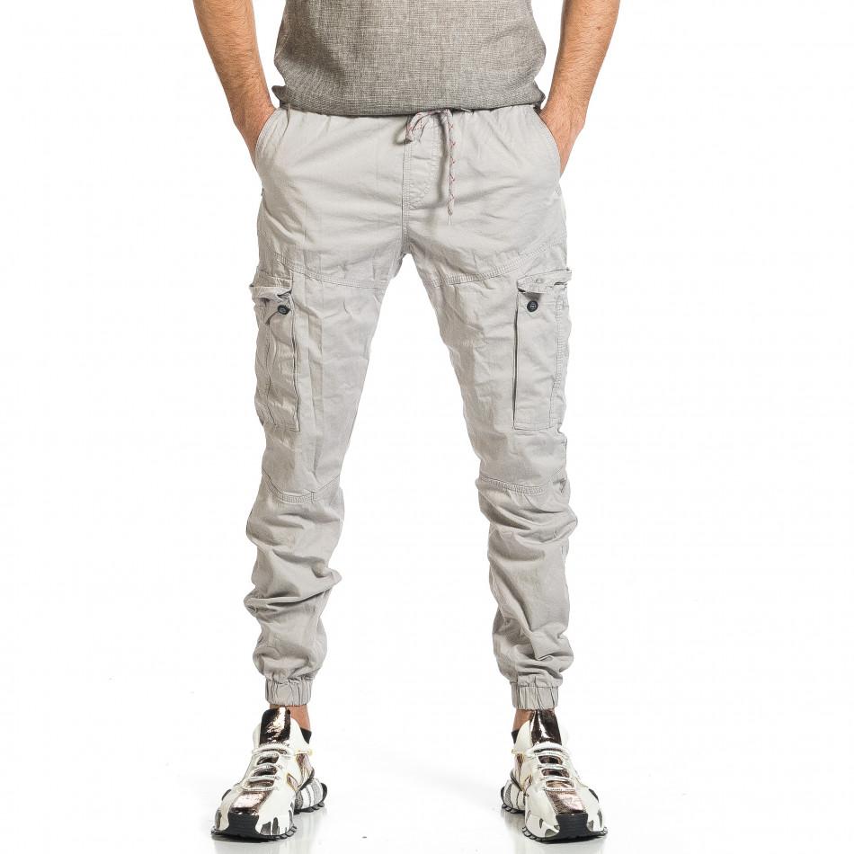 Ανδρικό ανοιχτό γκρι παντελόνι cargo jogger tr270421-1