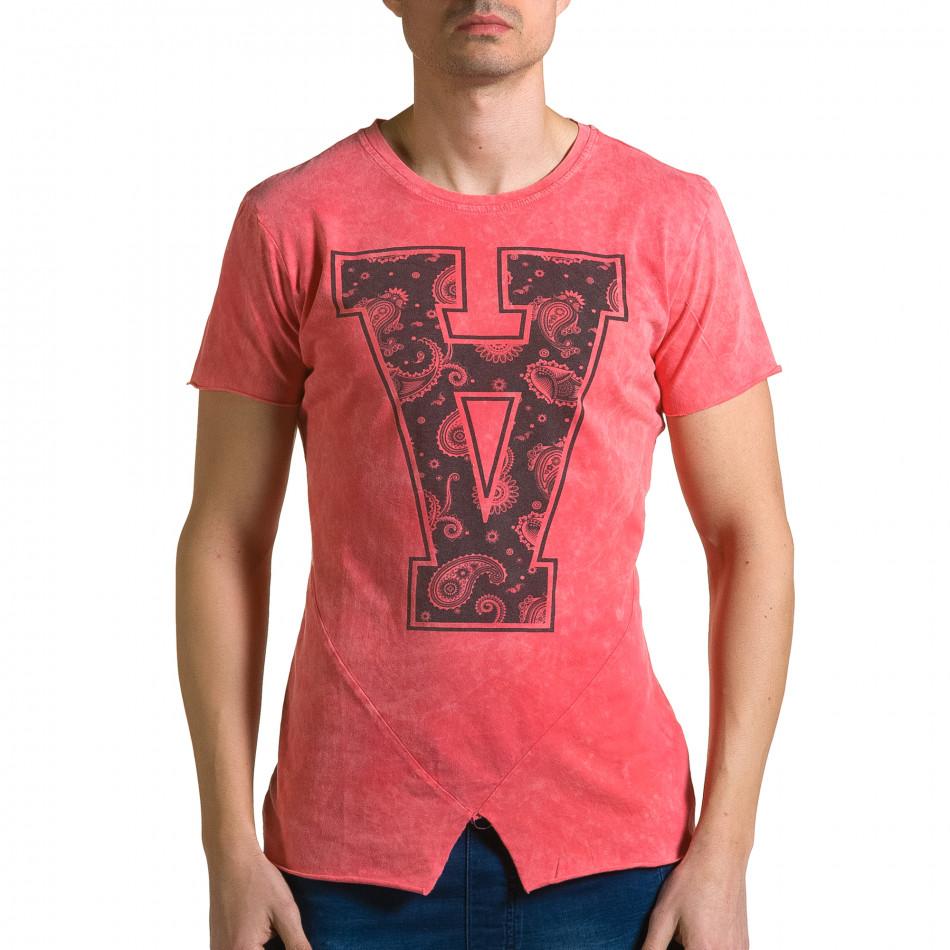 Ανδρική κόκκινη κοντομάνικη μπλούζα Adrexx ca190116-47