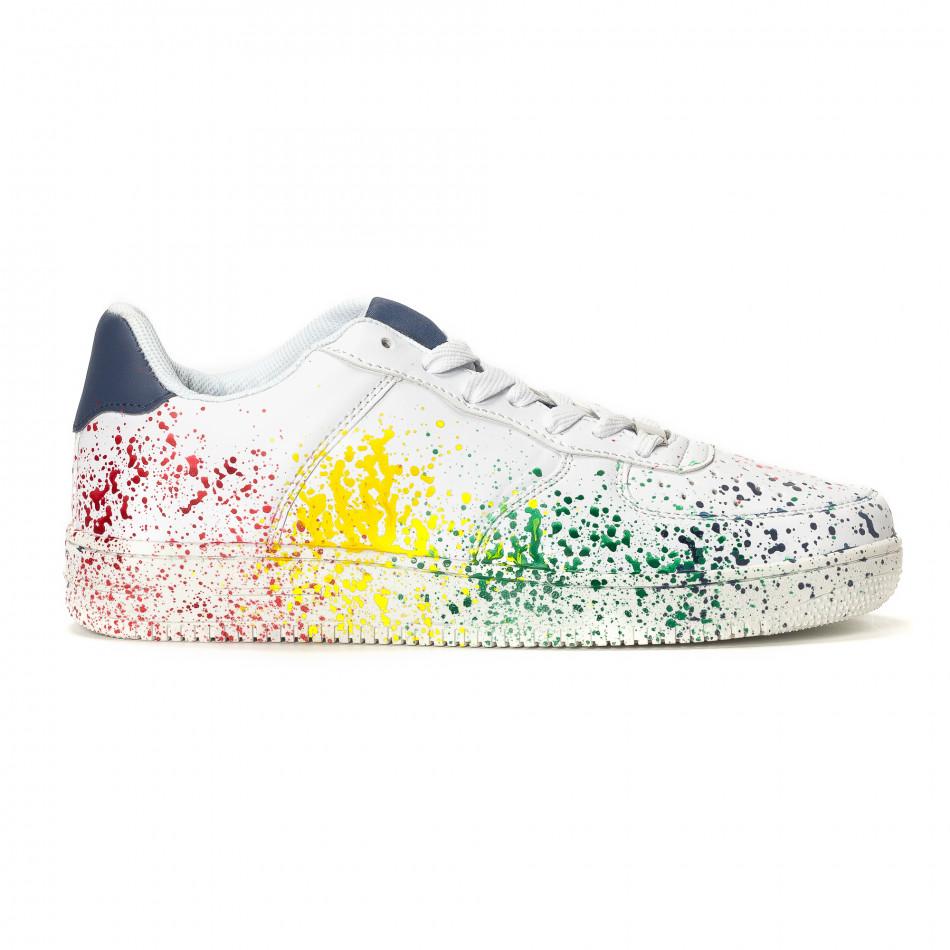 Ανδρικά λευκά sneakers με πολύχρωμο εφέ σπρέι it240418-25