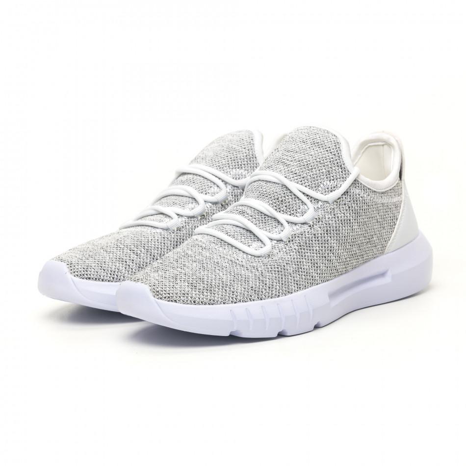 Ανδρικά λευκά μελάνζ αθλητικά παπούτσια ελαφρύ μοντέλο it041119-3