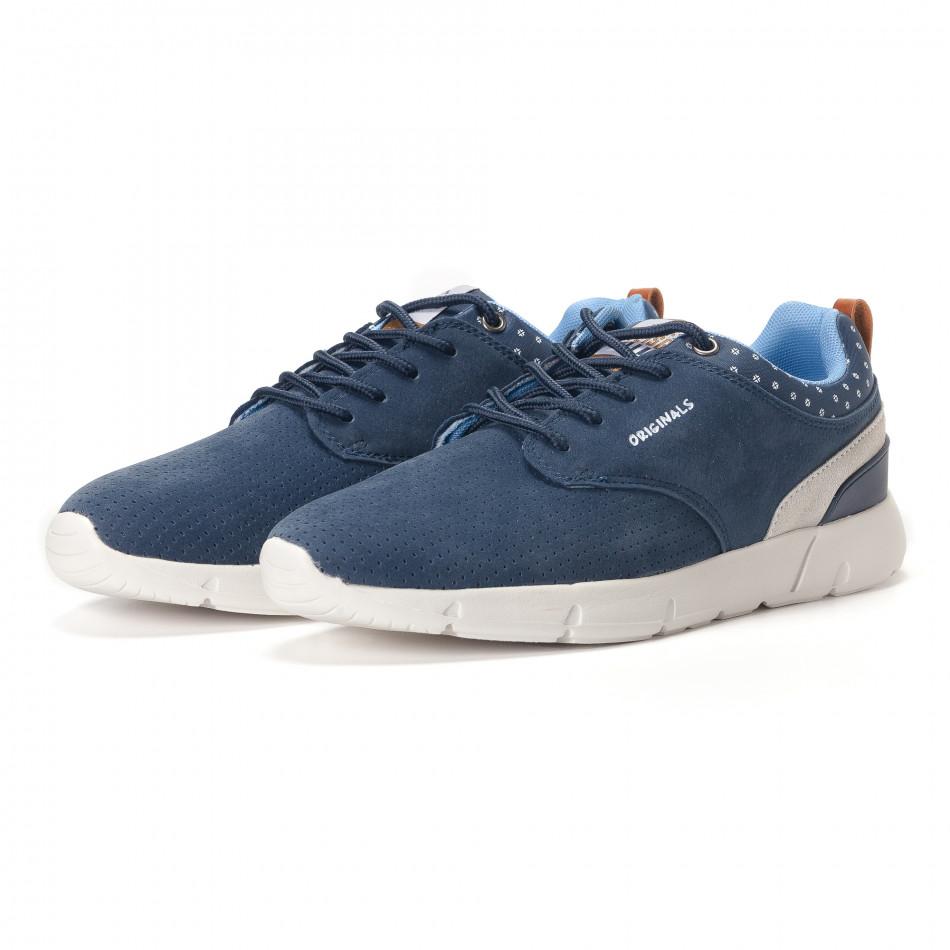 Ανδρικά γαλάζια αθλητικά παπούτσια Montefiori it250118-22