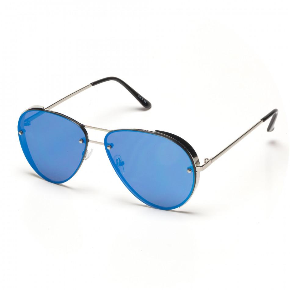 c3117d7093 Ανδρικά γαλάζια γυαλιά ηλίου πιλότου με χρυσαφένιους φακούς καθρέφτη ...
