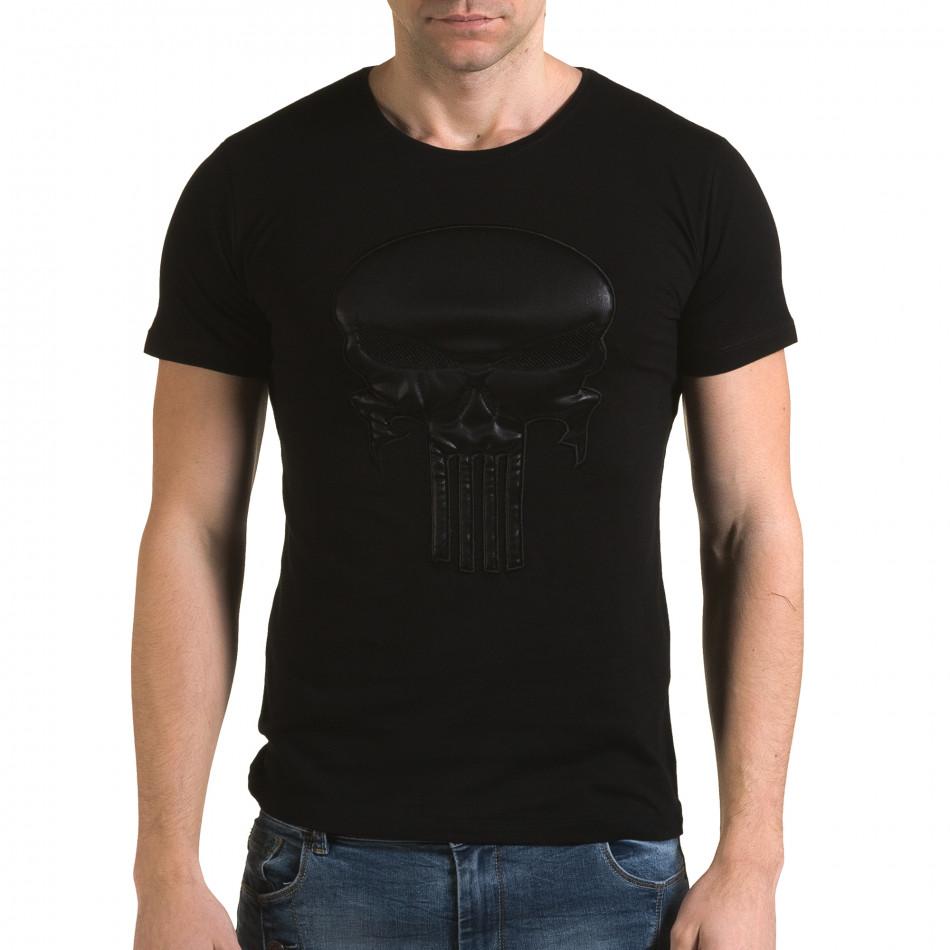 Ανδρική μαύρη κοντομάνικη μπλούζα Lagos il120216-25