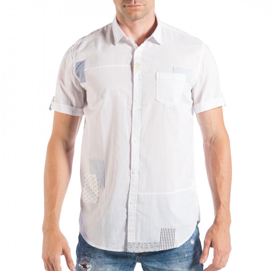 Ανδρικό λευκό κοντομάνικο πουκάμισο με μπαλώματα  it050618-3